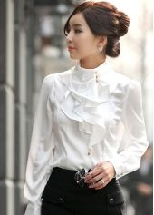 Ruffles Embellished Woman's Exquisite Stand Collar Puff Sleeve Rayon White Shirts