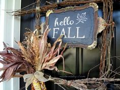 DIY Tutorial, fall harvest wreath, branches tied together to make a square wreath, paint a tray with chalkboard paint, free printable transparency It's my..