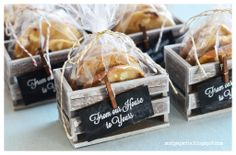 Rustic Paper Crates filled with cookies for Dinner Party Favors.