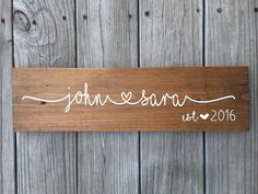 Custom Name Sign, Personalized Name Sign, Wedding Gift, Couple Sign, Housewarming Gift, Bridal Shower Gift, Wedding Sign, Wood Sign