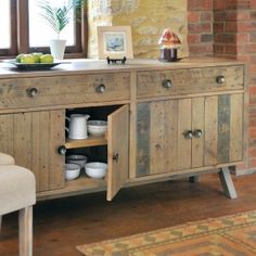 Crafted from solid reclaimed pine, the Bainton large sideboard has a characterful appearance which been achieved with a hand wax finish which emphasises the raw, unique quality of the wood that's been used.