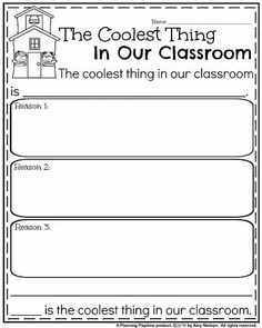Back to School Opinion Writing Prompt - The Coolest Thing in our Classroom. First Grade Writing Prompts, Opinion Writing Prompts, Third Grade Writing, Writing Prompts For Kids, Writing Lessons, Teaching Writing, Writing Ideas, Writing Activities, Narrative Writing