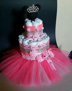 Diaper cake, minnie mouse diaper  cake, centerpieces.