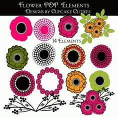 whimsical digital painting | Flower MOD POP Whimsical Digital Clip art collection 14 Elements Scrapbook Paper, Scrapbooking, Paper Cards, Digital Collage, Collage Sheet, Altered Art, Free Design, Embroidery Designs, Birthday Cards