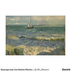 Seascape near Les Saintes-Maries-de-la-Mer Wood Wall Art Van Gogh Prints, Inspirational Text, Wood Wall Art, Wood Print, Landscape, Artwork, Pictures, Painting, Photos
