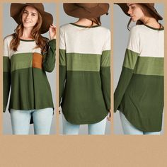 🛍NEW ARRIVAL🛍        The Green Colorblock Top    PRICE $31 & FREE SHIPPING    Shades of green with a brown pocket.    95% Rayon/ 5% Spandex    Available sizes:    Small (0-4), Medium (5-8), Large (9-12)             | Shop this product here: http://spreesy.com/RevivalandGraceBoutique/35 | Shop all of our products at http://spreesy.com/RevivalandGraceBoutique    | Pinterest selling powered by Spreesy.com