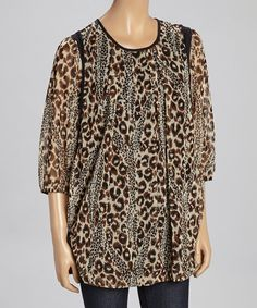 Look at this Come N See Brown Animal Dolman Top - Plus on #zulily today!
