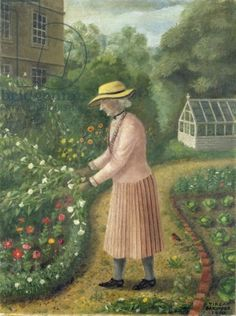 Mrs Nicholas of Copford Place, aged 96 in 1950 - Tirzah Garwood (This reminds me of Miss Marple in her garden)