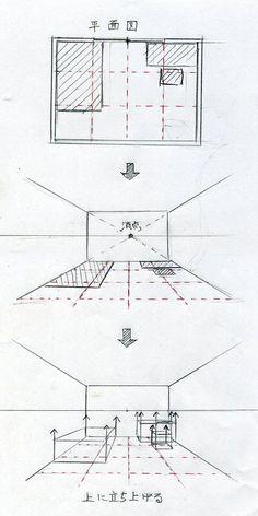 グリッドを利用して描く(手描きパースの描き方) l 手描きパースの描き方ブログ、パース講座(手書きパース)