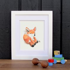 Baby Fox Watercolor Art Print
