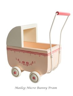 This adorable pink pram is the perfect accessory for Maileg mouse toys. It evens comes with matching bedding! Find the right size for your Maileg friends. > Available in Micro and MY sizes. > Age: 3 years and over > Designed in Denmark by Maileg Pink Prams, Baby Prams, Pram Toys, Umbrella Stroller, Double Strollers, Baby Strollers, Rabbit Baby, Baby Mouse, Baby Boy Or Girl