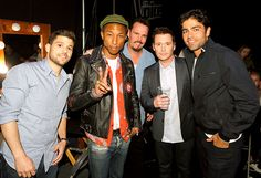 Pharrell Williams was flanked by Entourage's Jerry Ferrara, Kevin Dillon, Kevin Connolly, and Adrian Grenier during the May 5 live taping of The Voice in L.A.