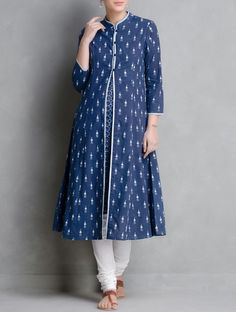 Buy Indigo Hand Block Printed Cotton Kurta With Jacket Set of 2 by Aavaran… Salwar Designs, Kurta Designs Women, Blouse Designs, Kurti Patterns, Dress Patterns, Suits For Women, Clothes For Women, Sari, Indian Designer Wear