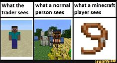 What the what a normal what a minecraft trader sees person sees player sees - iFunny :) Minecraft Creations, Minecraft Projects, Minecraft Designs, Minecraft Crafts, Really Funny Memes, Stupid Funny Memes, Funny Relatable Memes, Minecraft Funny, Minecraft Comics