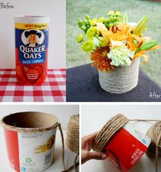 Make a Roped Vase from a Recycled Oatmeal Container