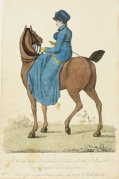 Fashion Plate (A French Lady on Horseback), England, London 1781-1812, LACMA Collections Online