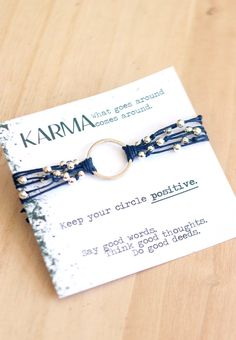 Bohemian Chic Dana Karma Bracelet in Midnight Blue and Silver, Positivity Bracelet, Good Vibe Jewelry by Soul Sparks