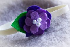 Elastic Headband with Flowers - Purple Lilac Lavender and Green - Pearls - Cream elastic band on Etsy, $4.00 CAD
