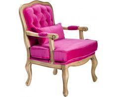 Saloon Pink Krzesło Z Podłokietnikami Różowe Tkanina - 2