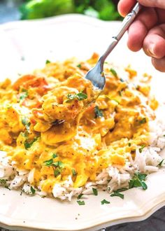 This Coconut Shrimp Curry features delicious shrimp in a coconut curry that's perfect over cooked rice and ready in only 25 minutes! Super easy, one pot and tons of flavors! Serve over Riced cauliflower for Curry Recipes, Seafood Recipes, Indian Food Recipes, Asian Recipes, Cooking Recipes, Coconut Curry Shrimp, Shrimp Curry, Prawn, Tofu Curry