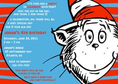 Dr. Seuss  Birthday Party Invitation