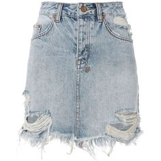 Ksubi Women's Mini Moss Distressed Denim Skirt (1.110 DKK) ❤ liked on Polyvore featuring skirts, mini skirts, bottoms, denim, faldas, distressed denim mini skirt, distressed skirt, ripped skirt, short skirts and blue skirt