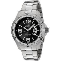 Invicta Men's 0081 II Collection Sport Day Stainless Steel Watch Invicta. $65.95. Water-resistant to 330 feet (100 M). Black dial with silver-tone hands, hour markers and arabic numerals; luminous; unidirectional bezel. Precise Swiss-quartz movement. Date function. Durable flame-fusion crystal; brushed and polished stainless steel case and bracelet