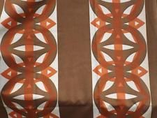 """VINTAGE RETR0 70'S CURTAINS GEOMETRIC CIRCLES BROWN/RED 43"""" WIDE X 77"""" DROP"""