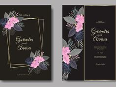 Beautiful floral frame wedding invitation card template by MARIA NURINCE DOMINGGAS on Dribbble #Freepik #adobestock  #vector #flower #frame #wedding #watercolor #leaves #colourful #tropical Wedding Invitation Card Template, Wedding Invitations, Watercolor Leaves, Job Opening, Wedding Frames, Silver Spring, Flower Frame, Branding Design, Tropical