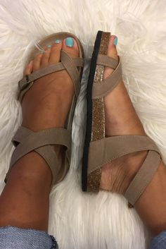 """Birkenstock Inspired """"Yara"""" Sandal - Taupe from Chocolate Shoe Boutique"""