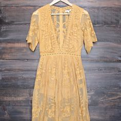 as you wish embroidered lace maxi dress - mustard
