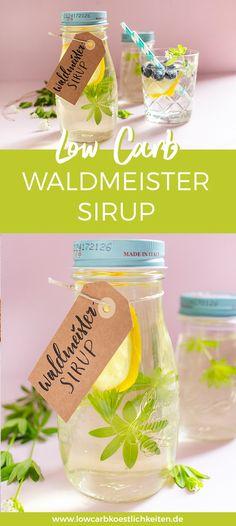 Rezept für zuckerfreien Waldmeister Sirup - ganz einfach hausgemacht! Auch eine tolle DIY Geschenkidee. #lowcarbköstlichkeiten #zuckerfrei #abnehmen