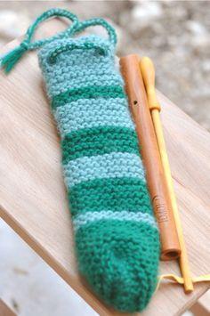maya's handknitted flute case by waldorf mama, via Flickr