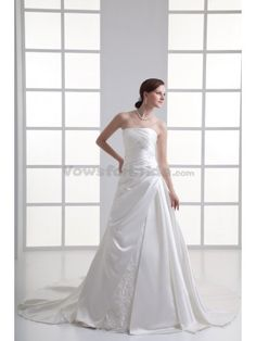 Satin Strapless A-line Chapel Train Ruched Wedding Dress