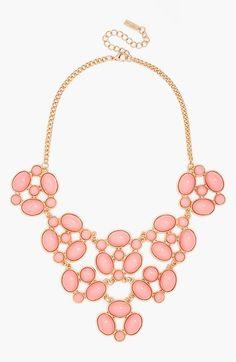 Bubble gum pink bib necklace