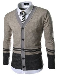 TheLees Men's Slim Fit 5 Button 2 Tone Stripe Knitted Cardigan
