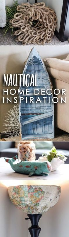 "DIY Nautical Home Decor Inspiration: No matter where you live, you can bring the beach to your home with nautical home decor! Transforming my small apartment living room into a coastal-themed space was surprisingly easy. Below, I share three simple steps to take to achieve a light & airy, ""beachy"" feel!"