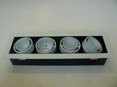 Quadruple Swivel Square Downlighter 12 Volt or 220 Volt Square Cutout x x Any Colour