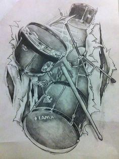 Music Tattoo Designs, Music Tattoos, Drummer Tattoo, Drum Drawing, Music Tattoo Sleeves, Drums Art, Latest Tattoos, Drum Kits, Tambour