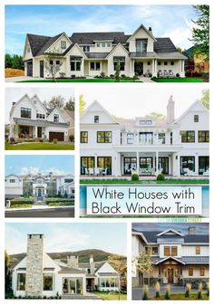 A gorgeous round-up of white houses with black window trim. We love this modern farmhouse vibe and fresh take on exteriors! #house #design #homedecor