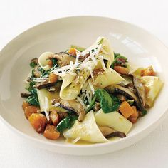 Pappardelle with Squash, Mushrooms, and Spinach recipe (via Epicurious)