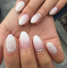 cool 40 Dazzling Ways to Style White Nails – Topnotch Nails Check more at http://newaylook.com/best-ways-to-style-white-nails/
