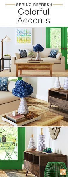 Spruce up your space this spring with vibrant accent colors. Add bold hues to your living room with vibrant throw pillows, graphic wall decor and fresh florals. Consider painting your doors or windows a bold new color to give your style an instant refresh. Click to explore this unique room.
