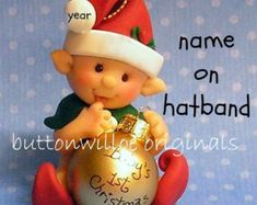 Pink Elf Baby's First Christmas Ornament by Buttonwilloe on Etsy