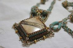 Hand Beaded Vintage carved Bone and Brass Button by pjlacasse, $175.00