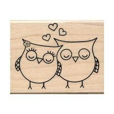 Tampon Nature Hiboux amoureux / Owl wood stamp