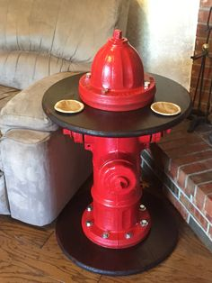 Fire hydrant end table with bunker gear coasters