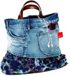 Jean and Fabric Purse  The top of an old pair of jeans plus some colorful fabric can create an awesome purse.  40 Mindblowing Ways To Repurpose Old Clothing - Page 4 of 4 - trendsandideas.com