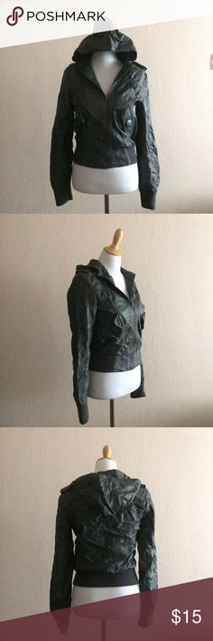 Grey Faux Leather Moto Jacket Great faux leather moto jacket, 100% polyester. Tag says dry clean but I never have. Damage to interior lining near label, see image, no damage to exterior. Great rugged jacket. Paper Doll Jackets & Coats
