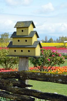 Large three story yellow bird house on solid wooden post in a field of grass and miles of tulip gardens/fields.